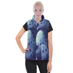 Santa Claus Christmas Night Moon Happy Fly Women s Button Up Puffer Vest
