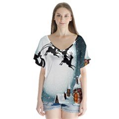 Santa Claus Christmas Snow Cool Night Moon Sky V Neck Flutter Sleeve Top