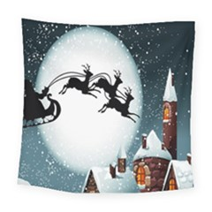 Santa Claus Christmas Snow Cool Night Moon Sky Square Tapestry (large)