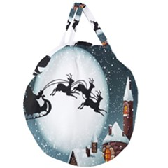 Santa Claus Christmas Snow Cool Night Moon Sky Giant Round Zipper Tote by Alisyart