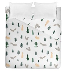 Squirrel Rabbit Tree Animals Snow Duvet Cover Double Side (queen Size)