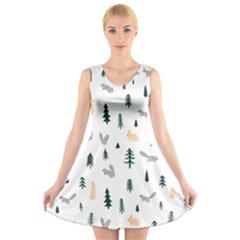 Squirrel Rabbit Tree Animals Snow V Neck Sleeveless Skater Dress