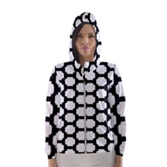 Tile Pattern Black White Hooded Wind Breaker (women)