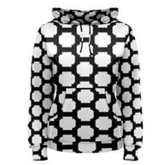 Tile Pattern Black White Women s Pullover Hoodie