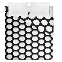 Tile Pattern Black White Duvet Cover Double Side (queen Size) by Alisyart