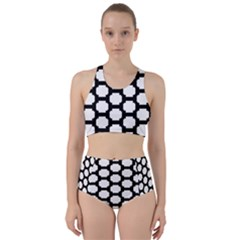 Tile Pattern Black White Racer Back Bikini Set by Alisyart