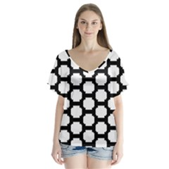 Tile Pattern Black White V Neck Flutter Sleeve Top