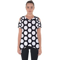 Tile Pattern Black White Cut Out Side Drop Tee