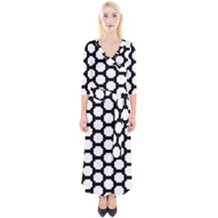 Tile Pattern Black White Quarter Sleeve Wrap Maxi Dress by Alisyart
