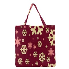 Snowflake Winter Illustration Colour Grocery Tote Bag by Alisyart