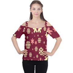 Snowflake Winter Illustration Colour Cutout Shoulder Tee
