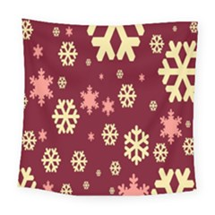 Snowflake Winter Illustration Colour Square Tapestry (large)