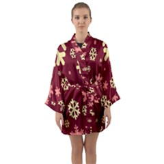 Snowflake Winter Illustration Colour Long Sleeve Kimono Robe