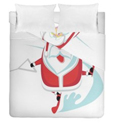 Surfing Snow Christmas Santa Claus Duvet Cover Double Side (queen Size)