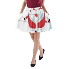Surfing Snow Christmas Santa Claus A Line Pocket Skirt