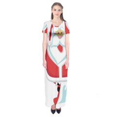 Surfing Snow Christmas Santa Claus Short Sleeve Maxi Dress