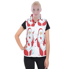 Surfing Snow Christmas Santa Claus Women s Button Up Puffer Vest by Alisyart