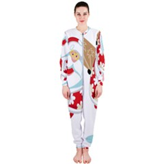 Surfing Christmas Santa Claus Onepiece Jumpsuit (ladies)