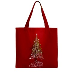 Tree Merry Christmas Red Star Zipper Grocery Tote Bag by Alisyart