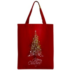Tree Merry Christmas Red Star Zipper Classic Tote Bag