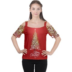 Tree Merry Christmas Red Star Cutout Shoulder Tee