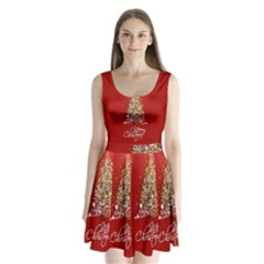 Tree Merry Christmas Red Star Split Back Mini Dress