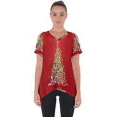 Tree Merry Christmas Red Star Cut Out Side Drop Tee