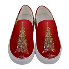 Tree Merry Christmas Red Star Women s Canvas Slip Ons