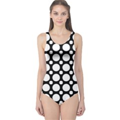 Tileable Circle Pattern Polka Dots One Piece Swimsuit by Alisyart