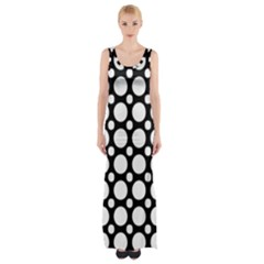 Tileable Circle Pattern Polka Dots Maxi Thigh Split Dress by Alisyart