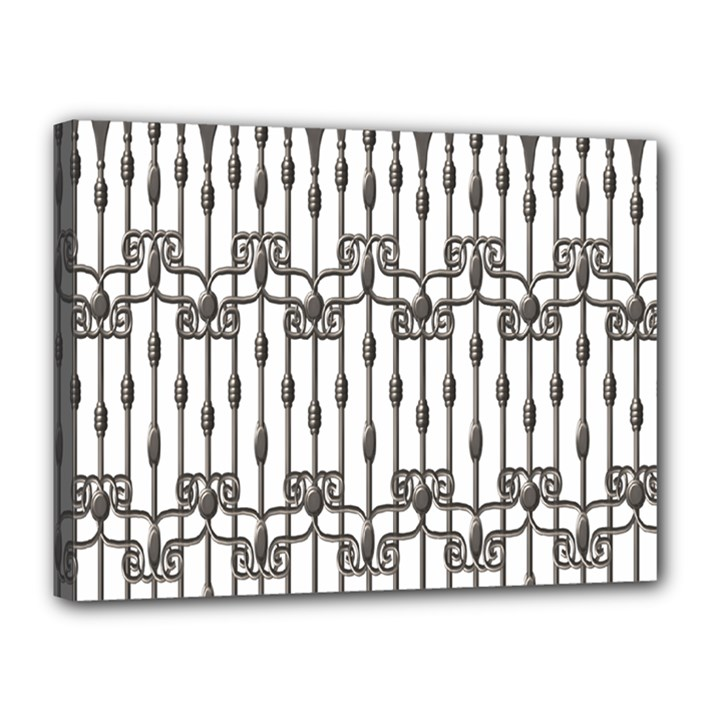 Iron Fence Grey Strong Canvas 16  x 12