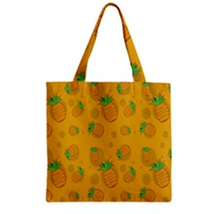 Fruit Pineapple Yellow Green Zipper Grocery Tote Bag