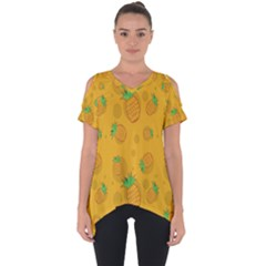 Fruit Pineapple Yellow Green Cut Out Side Drop Tee