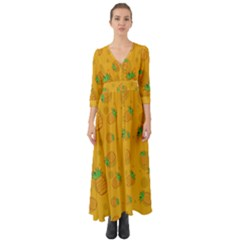 Fruit Pineapple Yellow Green Button Up Boho Maxi Dress
