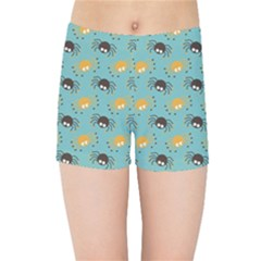 Spider Grey Orange Animals Cute Cartoons Kids Sports Shorts by Alisyart