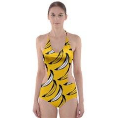 Fruit Bananas Yellow Orange White Cut Out One Piece Swimsuit