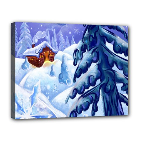Christmas Wooden Snow Canvas 14  X 11  by Alisyart