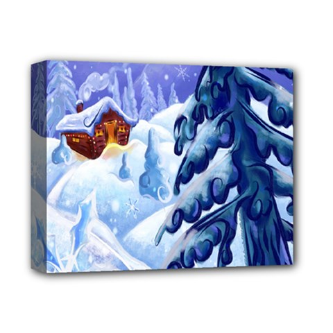 Christmas Wooden Snow Deluxe Canvas 14  X 11