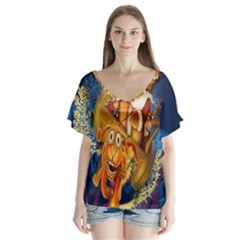 Deer Santa Claus Flying Trees Moon Night Christmas V Neck Flutter Sleeve Top