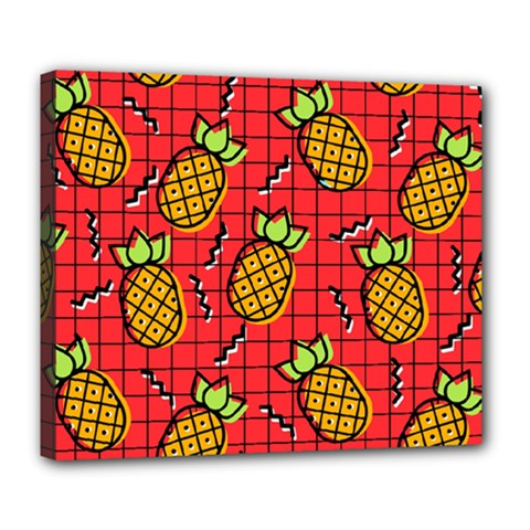 Fruit Pineapple Red Yellow Green Deluxe Canvas 24  X 20