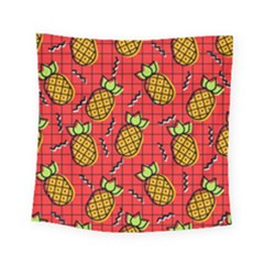 Fruit Pineapple Red Yellow Green Square Tapestry (small)