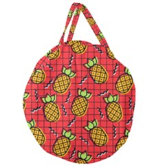 Fruit Pineapple Red Yellow Green Giant Round Zipper Tote by Alisyart