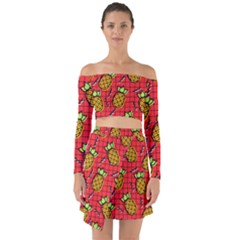 Fruit Pineapple Red Yellow Green Off Shoulder Top With Skirt Set
