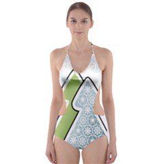 Tree Spruce Xmasts Cool Snow Cut Out One Piece Swimsuit