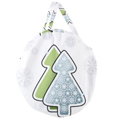 Tree Spruce Xmasts Cool Snow Giant Round Zipper Tote by Alisyart