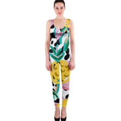 Fruit Pattern Pineapple Leaf Onepiece Catsuit