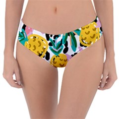 Fruit Pattern Pineapple Leaf Reversible Classic Bikini Bottoms