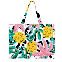 Fruit Pattern Pineapple Leaf Zipper Large Tote Bag by Alisyart