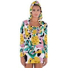 Fruit Pattern Pineapple Leaf Long Sleeve Hooded T Shirt