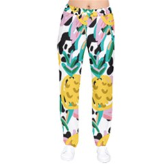 Fruit Pattern Pineapple Leaf Drawstring Pants